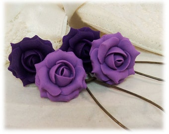 Purple Rose Dangle Earrings - Purple Rose Drop Earrings, Purple Flower Earrings