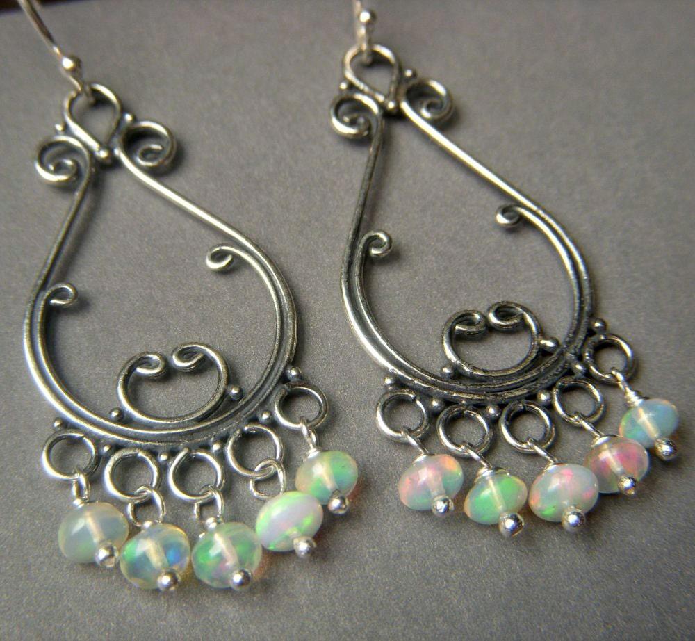 genuine opal earrings on sterling silver fiery flashy
