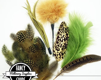 SALE - Tan / Green / Gold - Mixed Feather Lot - Turkey Flats - Biots - Pom Pom - Printed - Pheasant - Guinea - Great for Millinery