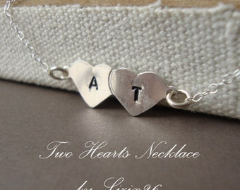 ON SALE Personalized Hearts Necklace- Personalized Two Initials, Bridal, Bridesmaids Gifts, Best Friend, Sister,Couple, Mom & Baby by lizix2