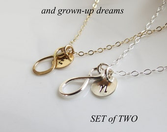 Sisters Infinity Necklace SET of Two,Gold or Silver Personalized Gift,Best Friends Necklace, Forever Sisters Gift, Figure Eight Necklace
