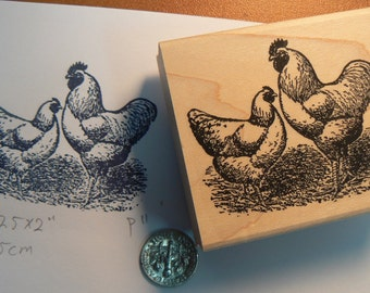 chickens rubber stamp P11