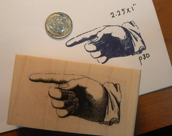 pointing finger rubber stamp vintage style wood mounted p30