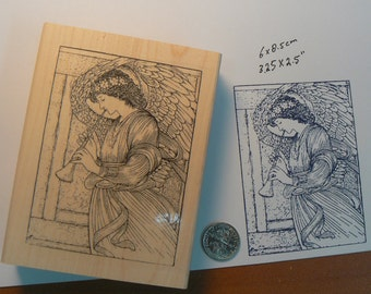 Angel with horn rubber stamp. P9