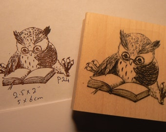 """P27 Small Owl rubber stamp  2.5x2"""" inches deep etched"""