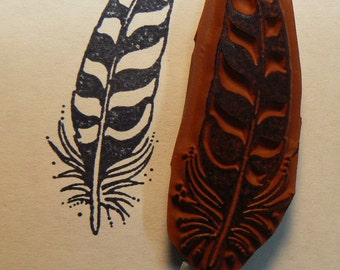 Feather rubber stamp Wood Mounted
