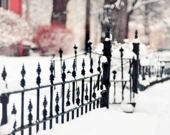 Landscape Photography, Winter Scene, Holiday Home Decor, Fine Art Print, Snowy Fence Photograph, Traditional Photo, White, Christmas Art
