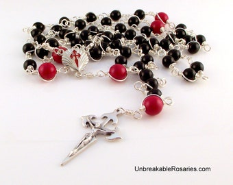 St James Camino de Santiago Rosary Beads in Black and Red by Unbreakable Rosaries