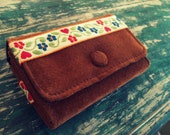 Suede Wallet With Vintage Embroidered Floral Trim Detail