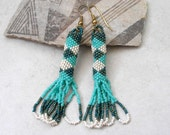 Peyote Stitch Beaded Earrings Retro Hipster Jewelry Vintage Turquoise Seed Beads