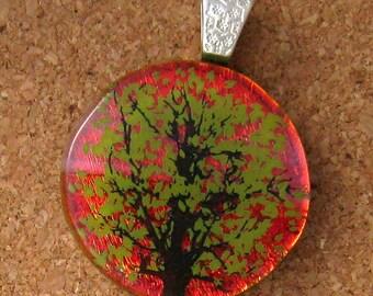 Dichroic Tree Pendant -  Fused Glass Pendant - Decal Pendant - Autumn Jewelry Glass Jewelry Fused Glass Jewelry