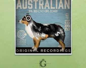 Australian Shepherd records dog Company graphic illustration signed artist's print by Stephen Fowler