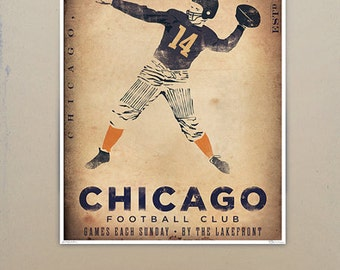 Chicago Football club original graphic art illustration giclee archival signed artists print by stephen fowler