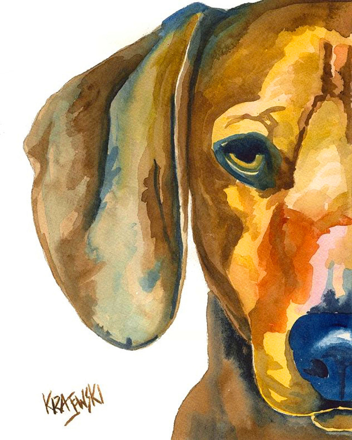 Dachshund art print of original watercolor painting 11x14 for Dog painting artist