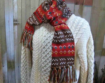 Chunky Scarf geometric pattern  vintage 70s Scarf ethnic earth tone Brown rust long winter fringe muffler