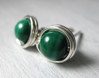 Malachite Stud Earrings Birthstone Earrings 6mm Sterling Silver Wire Wrapped Birthstone Jewelry -- Simply Studs
