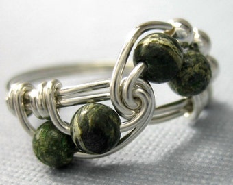 Math Ring Zebra Jasper and Sterling Silver Wire Wrapped Fibonacci Ring Math Jewelry