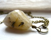 Rutilated Quartz Crystal Necklace, Rutilated Quartz Faceted Stone Pendant Gemstone Necklace, Handmade Artisan Jewelry