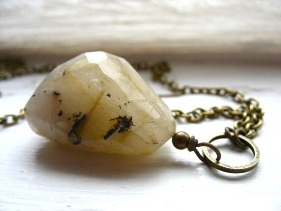 Rutilated Quartz Crystal Necklace, Rutilated Quartz Faceted Stone Pendant Gemstone Necklace, Handmade Artisan Jewelry