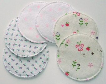 Nursing Pads, Print / White, Reversable Cloth Breast Pads, Washable and Reusable, 3 Pair