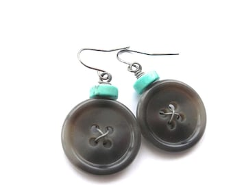 Gray Button Earrings with Aqua