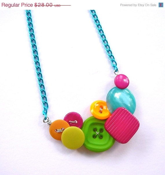 Christmas in July Sale Neon Bright Jewelry - Colorful - Vintage Button Necklace - Aqua, Hot Pink, Lime Green, Orange, Yellow