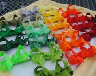 Itty Bitty Bow Set - Tiny Boutique Hairbows - Pick 15 Baby Bows - 2 Inch Hairbows - Tiny Hair Clips - Baby Barrettes - Baby Girl Hair Bows