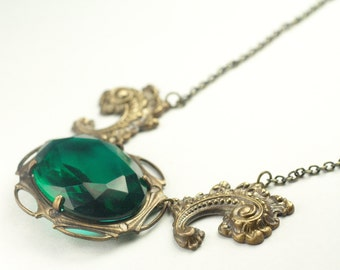 Emerald jewel statement necklace art nouveau brass vintage style hollywood glamour green