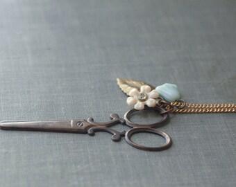 Scissor necklace vintage style brass seamstress pastel retro floral