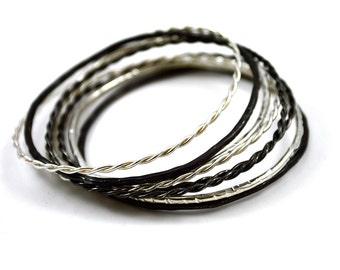 Set of 3 Sterling Silver Stacking Bangle, Twisted or Textured, Black or White