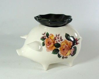 Miniature self watering  Violet Pot Pig Planter Yellow Rose and Bee
