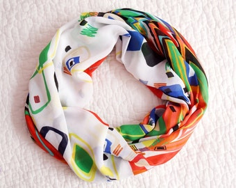 Infinity Scarf Loop Scarf Circle Scarf Cowl Scarf  Rainbow Colors circle geometric design handmade from Fabric linen