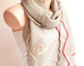 Grey Scarf-Wool Linen scarf - wrap scarf - winter scarf