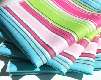 FREE OFFER Reusable ORGANIC Cloth Napkins - Set of 4- Exclusive Organic Prints- Multi Stripes