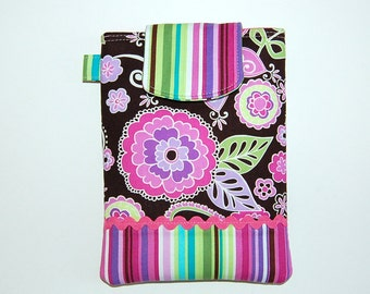 Orchid Boho Blossom and Kiwi Stripe - iPad Mini / Kindle / Nook / Nexus 7 Padded Cover with Front Pocket
