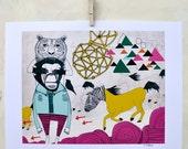 Illustration, Art Print, Animals, Horses, Nursery art, Whimsical, Pink, Triangle, Unique home decor