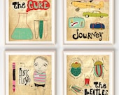 Illustration, Music, Wall art, Bands, Musician gift, Music lover gift, Quirky art, Vintage, Affordable Art, Bands Set of 4 Prints
