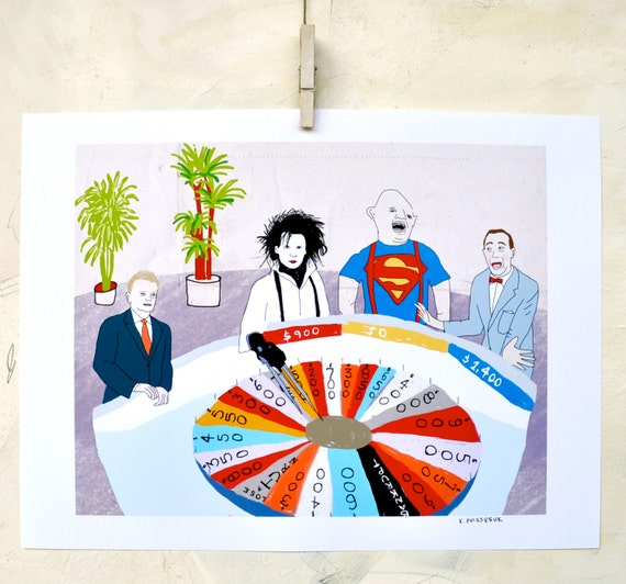 Illustration, Edward Scissorhands, Sloth, Goonies, Pee Wee Herman art, Wheel of Fortune, Fine Art Print on Paper, Movie lover art