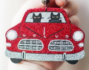 Red Christmas Clay Cat Folk Art Ornament
