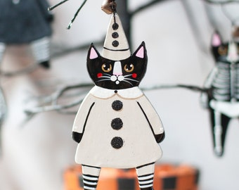 Clown Cat Halloween Original Clay Folk Art Ornament