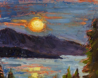 "Original Landscape of Coeur d' Alene Lake, ""The LIght LIngers"""