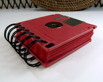 Jumbo Floppy Disk Recycled Blank Mini Notebook in Red with 125 RED pages