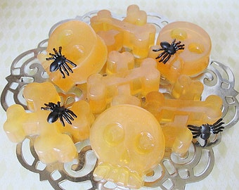 SKULL n CROSS-Bones Soap--Pirate--Kids--Spooky and Cute--GOLDEN Crystal -Choice of Scents----Halloween