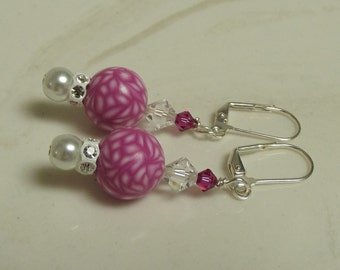Pink White Beaded Earrings Spring Summer Fun Fuchsia Hot Pink Polymer Clay Beads Swarovski Crystals