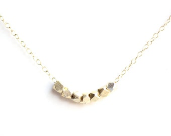 Minimalist Faceted Bead Necklace - Brass, Gold Fill or Sterling Silver