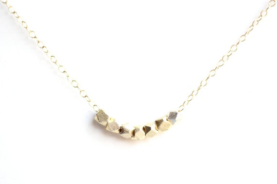 Minimalist Faceted Bead Necklace - Gold Fill or Sterling Silver