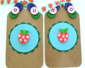 Strawberry Gift Tags - Set of 2 Tags