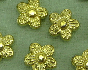 6 Small Vintage Gold Flower Beads
