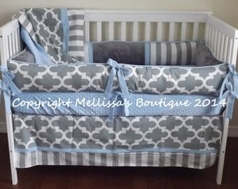 Custom Grey Moroccan Trellis with Accent YOUR CHOICE 4-Piece Complete Boutique Crib Nursery Bedding Set