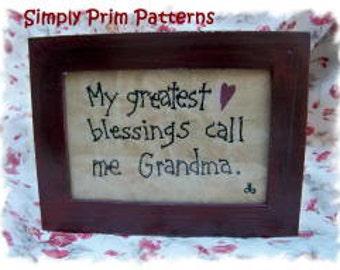 E-pattern -Greatest Blessings call me Grandma- Primitive Stitchery epattern